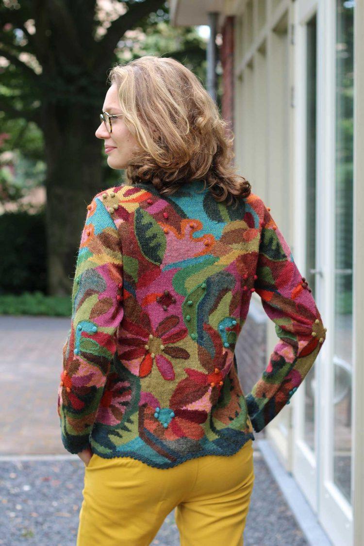 Intarsia gebreid dames vest kleurrijk alpaca wol peru duurzaam verantwoord