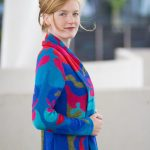 Asarti kleurrijk dames vest blauw rood patroon alpaca wol knitwear