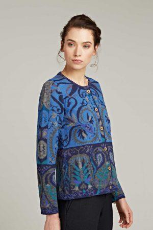Dames-vest-blauw-turkoois-groen-gebreid-Manuela-Bedford-alpaca-wol