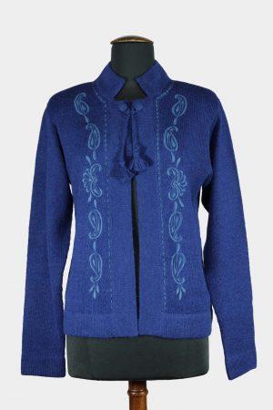 Dames-vest-gebreid-blauw-lavendel-alpaca-wol-duurzaam-stijlvol