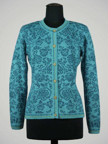 Gebreid-vest-Manuela-Bedford-turkoois-blauw-alpaca-wol-Peru-dames-kleding-duurzaam-verantwoord