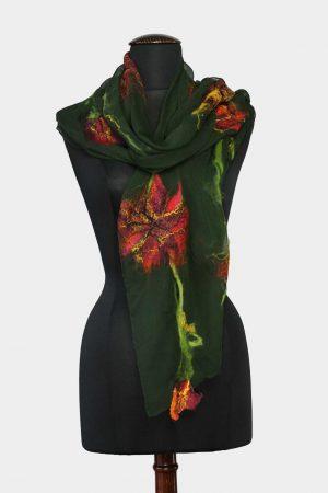 Wol-vilt-alpaca-sjaal-shawl-mos-groen-oranje-geel-gebloemd-handgemaakt