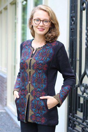 dames-vest-brons-zwart-exclusief-vest-gebreid-alpaca-wol-luxueus-bolivia