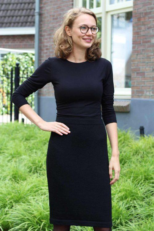 alpaca wollen dames rok zwart gebreid peru