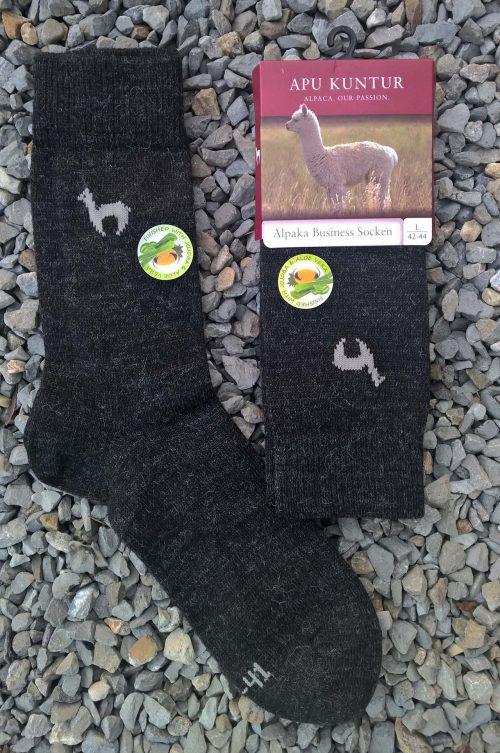 Alpaca wollen sokken donkergrijs-warm