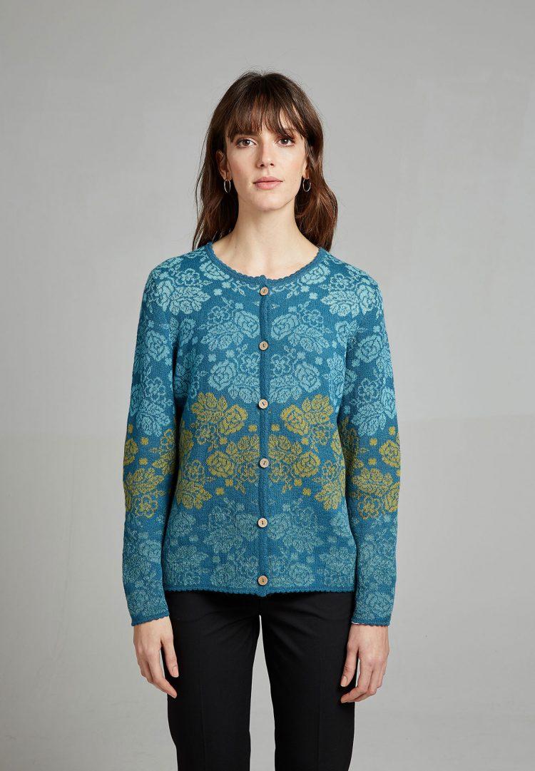 Blauw turkoois gebloemd dames vest alpaca wol Manuela Bedford