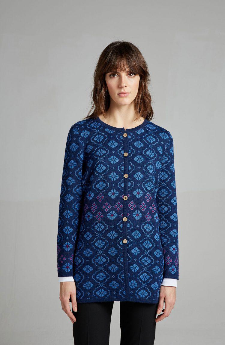 Halflang vest blauw dames vest alpaca wol peru Manuela Bedford