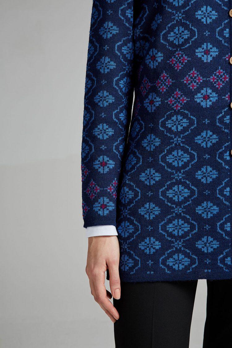Blauw dames vest alpaca wol peru manuela Bedford