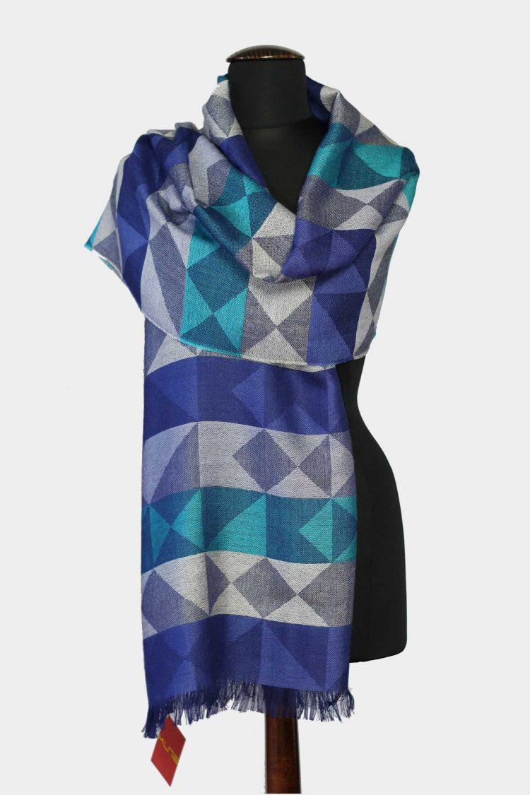 Blauwe zijde alpaca wollen sjaal vierkant motief