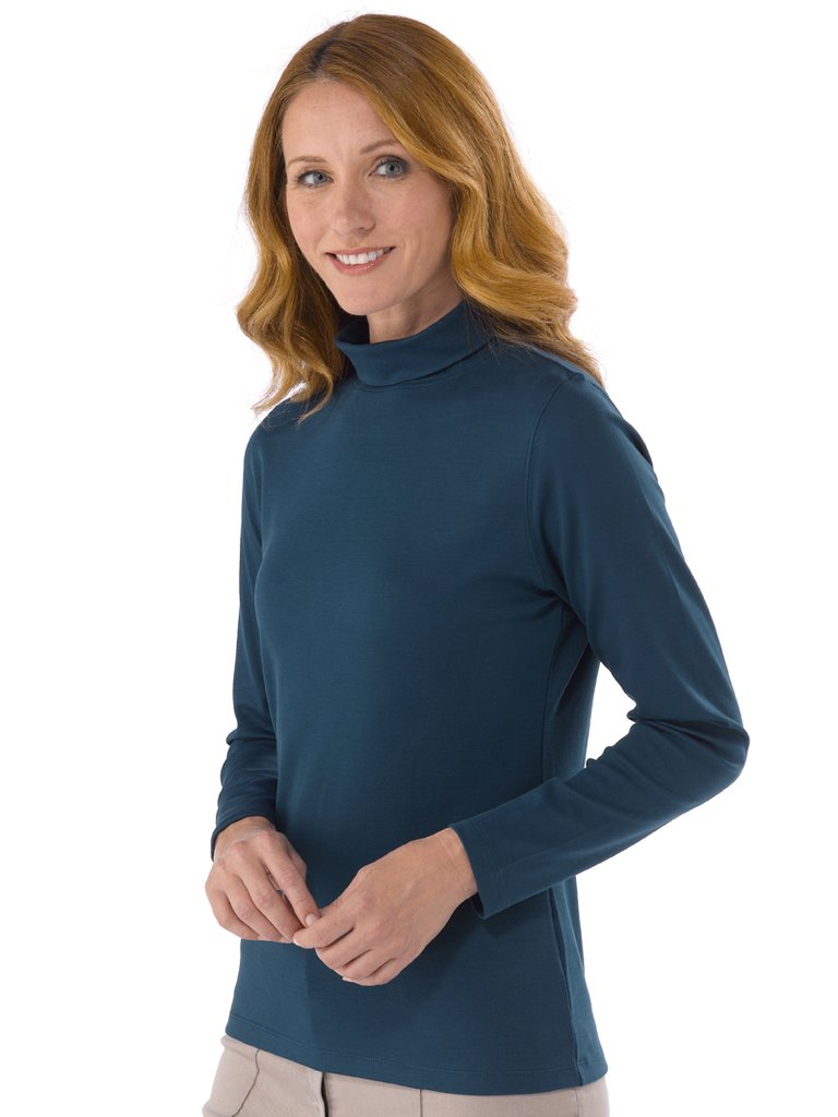 pima katoen dames kol shirt petrol blauw