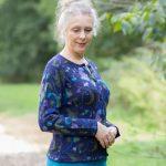 Gebloemd alpaca wollen dames vest blauw groen intarsia gebreid Peru