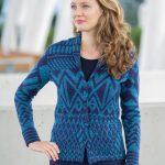 ASARTI - Alpaca wollen blazer vest turquoise blauw met shawl kraag