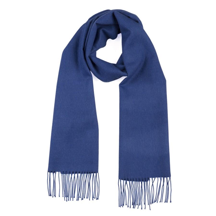 Kobalt blauwe shawls met franjes van alpaca wol