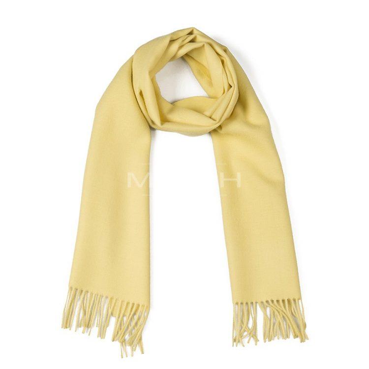 Citroen gele sjaal met franjers van geborstelde alpaca wol