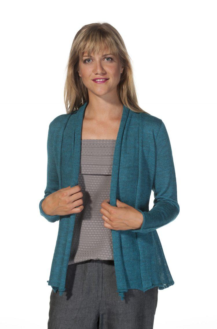 Turquoise blauw baby alpaca wol vest