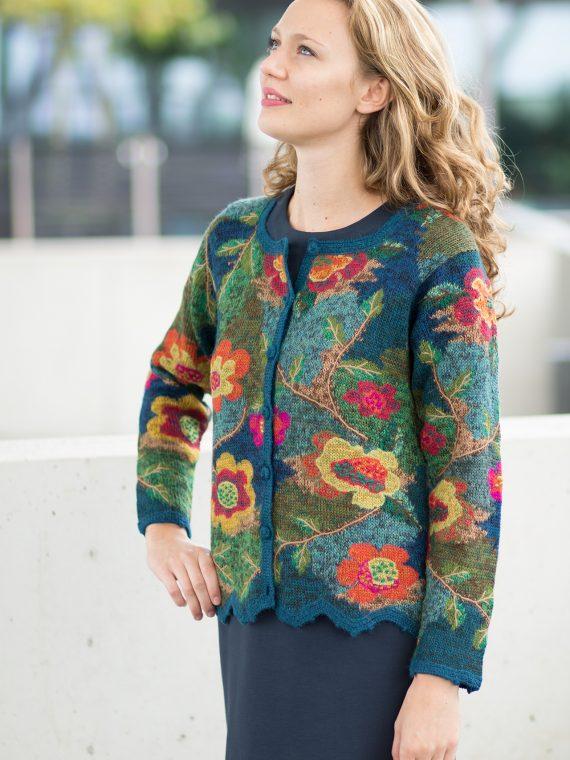 Dames-vest-intarsia-peruvian-gebloemd-alpaca-wol-blauw-groen