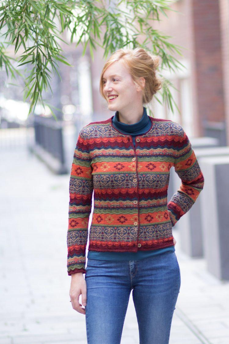 Alpaca wol knitwear dames vest rood oranje ajour