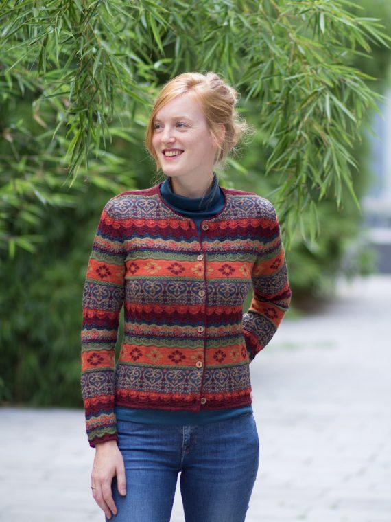 Kleurrijk patroon dames vest alpaca wol gebreid