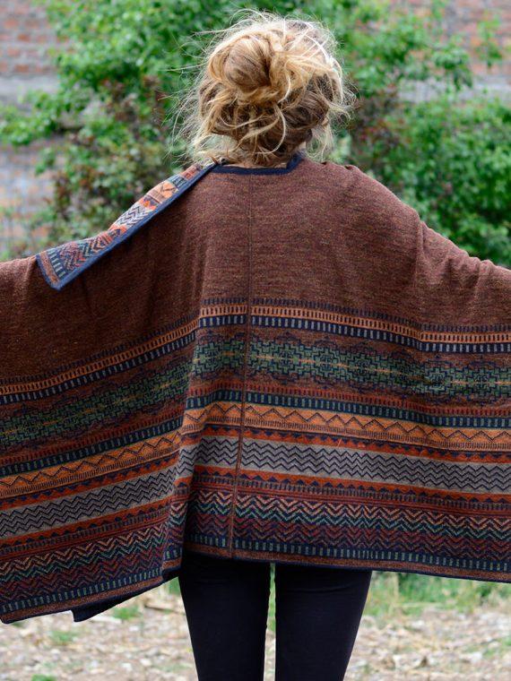 Roest bruine alpaca wollen omslagdoek met zakken Bohemian