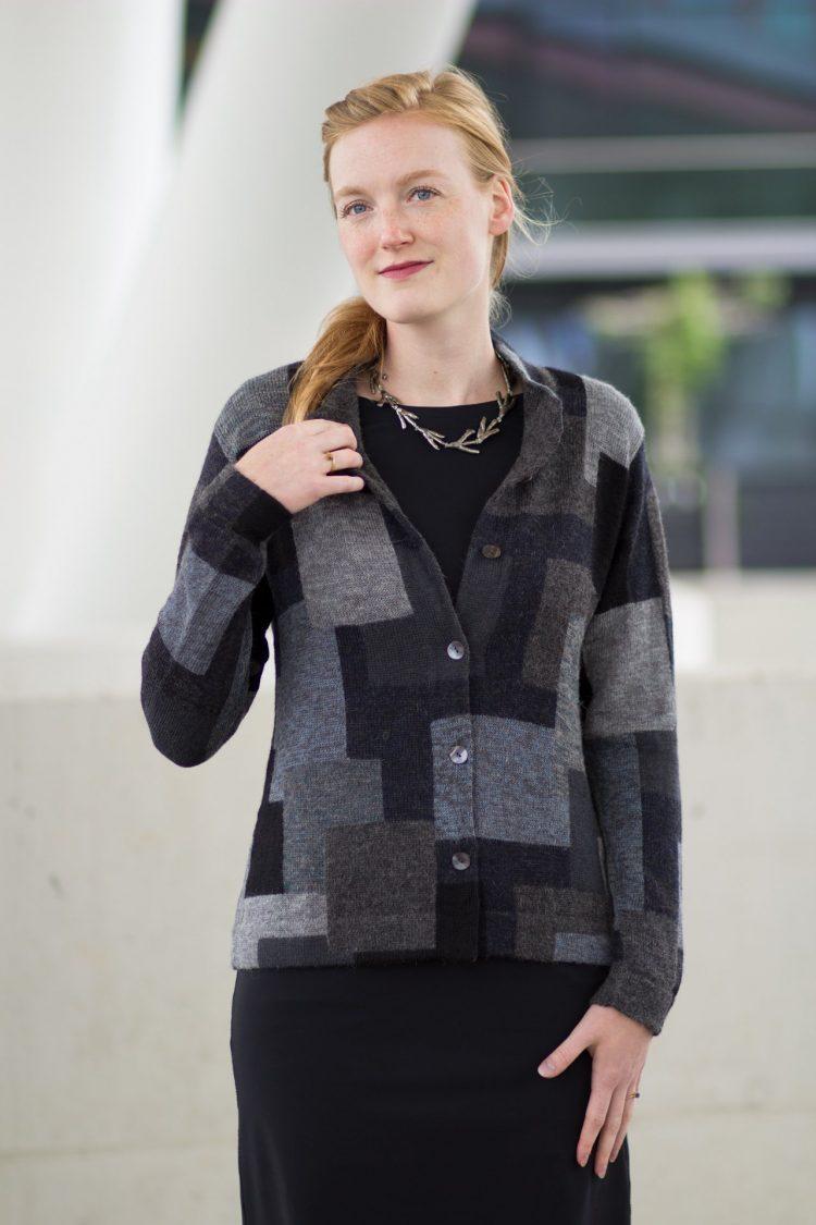 Grijs geblok dames vest alpaca wol