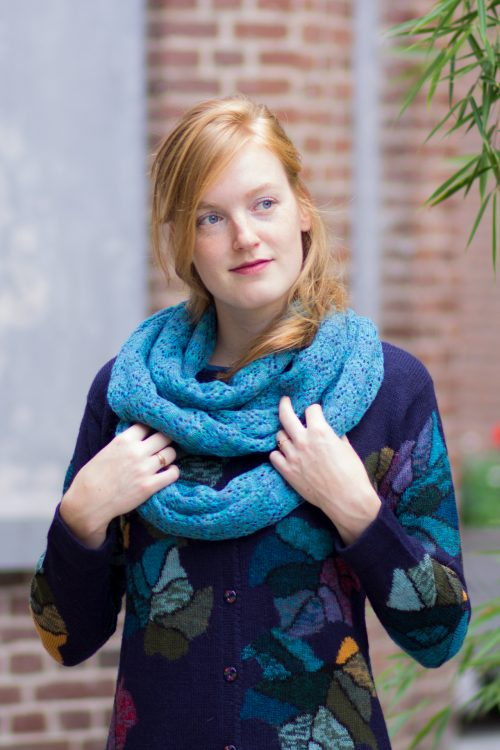 Alpaca wollen col shawl turquoise ajour gebreid