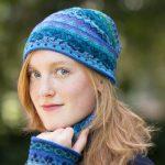 Manuela Bedford muts alpaca wol turquoise blauw motief