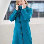 Alpaca wollen mantel jas turquoise blauw assymetrische knoopsluiting