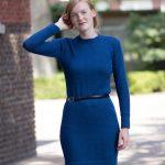 Gebreide jurk petrol blauw alpaca wol duurzaam