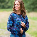 Intarsia handgemaakt vest blauw gebloemd alpaca wol