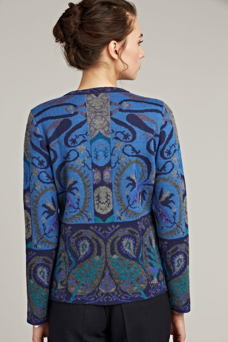 Manuela Bedford gebreid dames vest alpaca wol blauw grijs motief