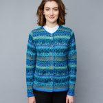 Manuela Bedford turquoise blauw gebloemd damesvest Fair Isle