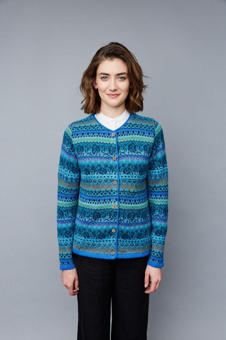 Manuela Bedford turquoise blauw dames vest gebreid van alpaca wol