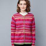 Manuela Bedford alpaca wol damesvest roze gebloemd