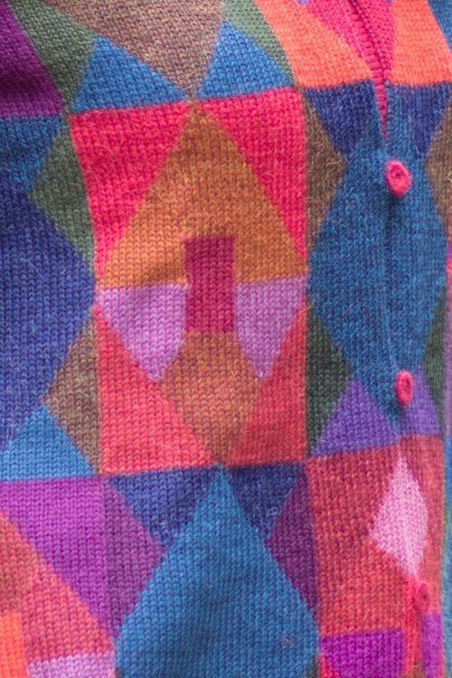Gebreid mozaïek patroon damesvest ARAÑA alpaca wol