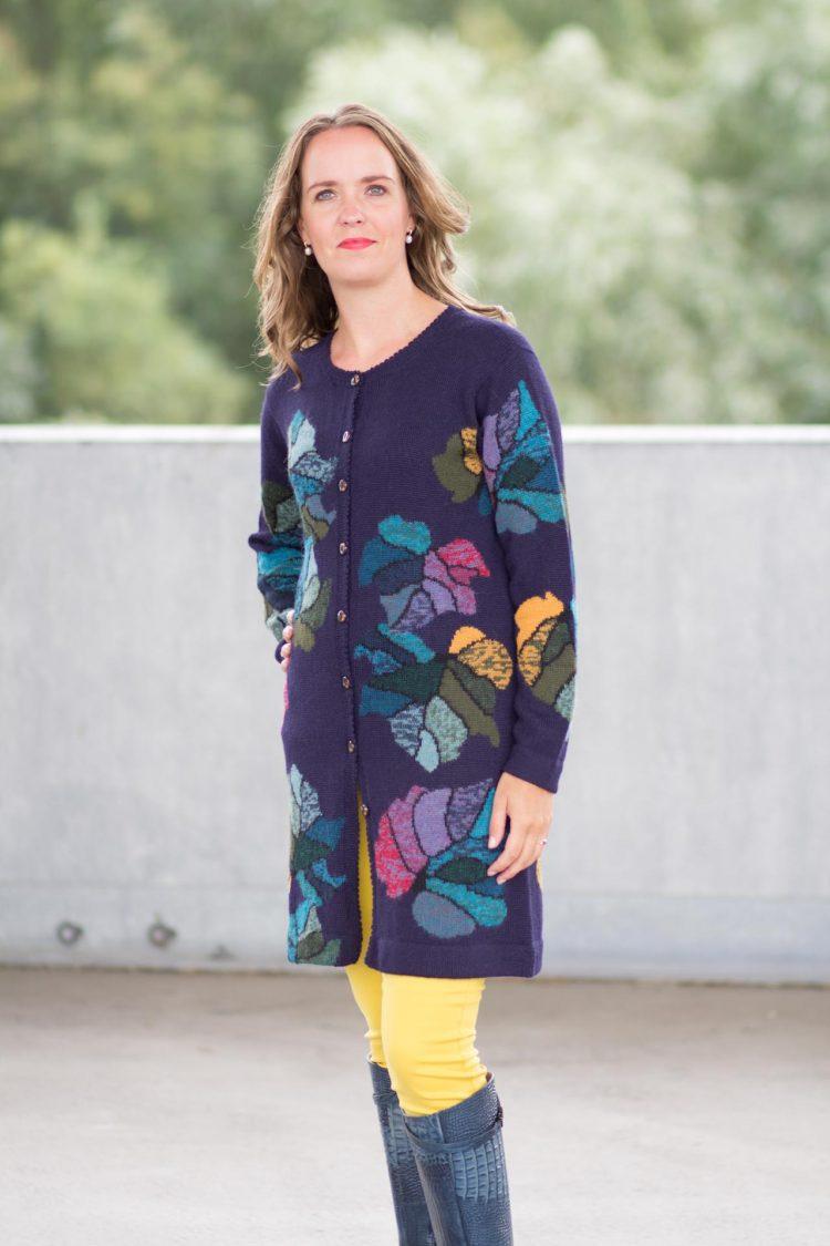 Lang blauw gebloemd vest alpaca wol knitwear