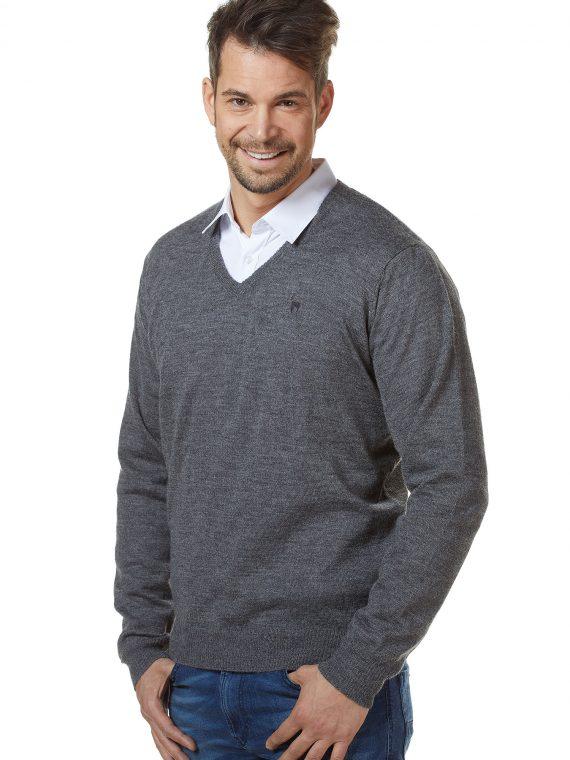 Heren-pullover-trui-grijs-v-hals-alpaca-wol-apu-kuntur