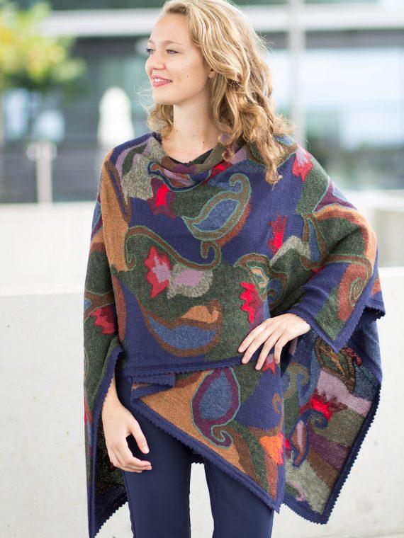 Alpaca-wollen-cape-omslagdoek-blauw-groen-rood-gebloemd-