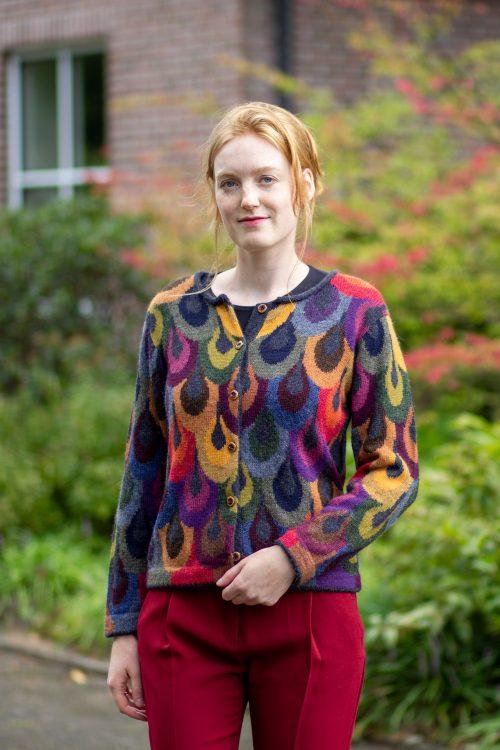 Intarsia gebreid dames vest alpaca wol kleurrijk