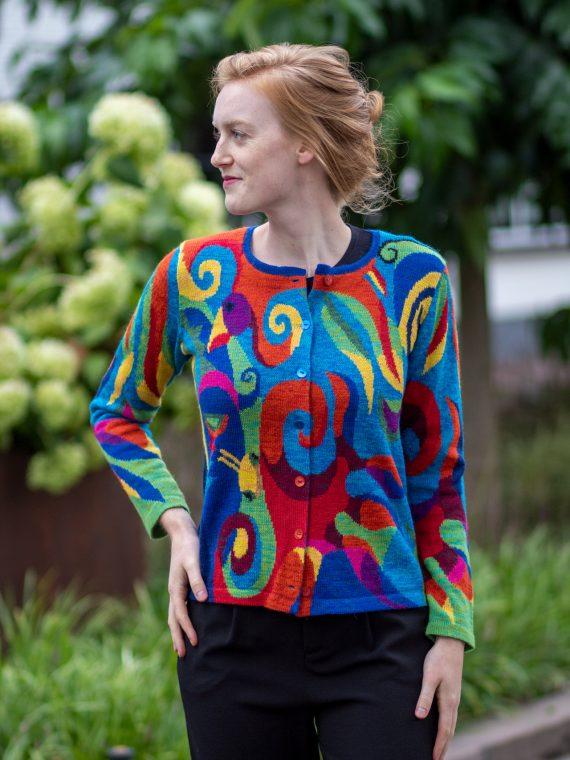 ASARTI-alpaca-wol-dames-vest-kleurrijk-turquoise-blauw-rood-intarsia-gebreid-bolivia
