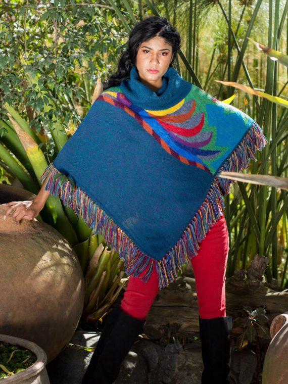 Guacamayo-poncho-asarti-petrol-blauw-alpaca-wol