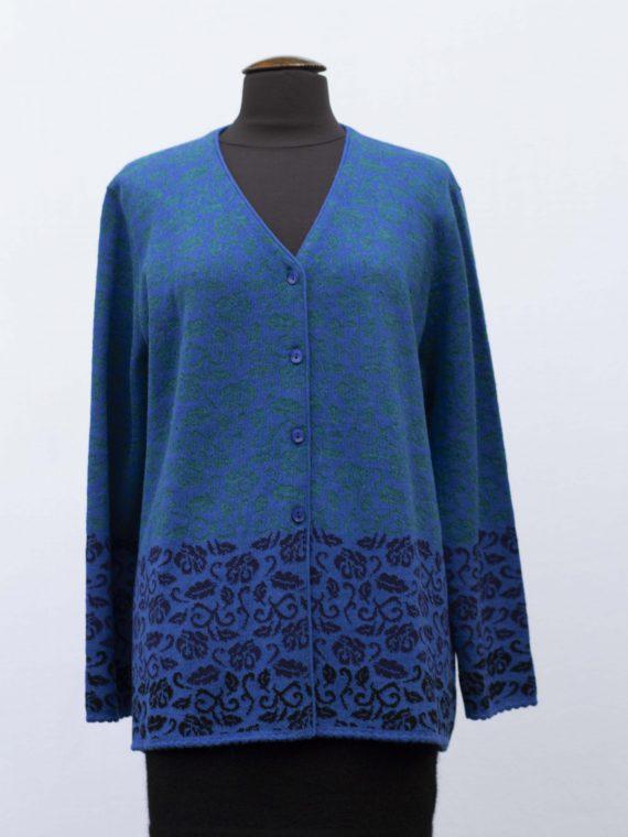 Alpaca-wollen-dames-vest-gebreid-blauw-groen-gebloemd-motief-grote-maat-peru-knitwear