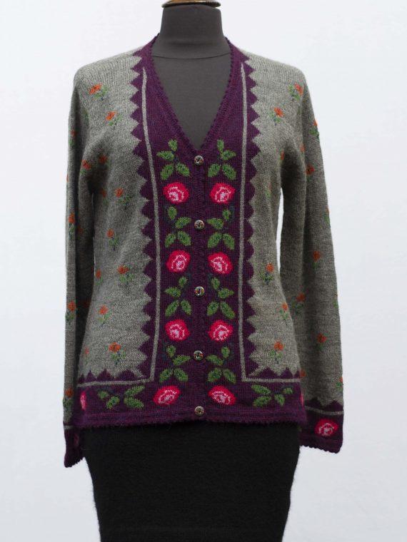 Alpaca-wollen-dames-vest-gebreid-grijs-gebloemd-paars-roze-peru-knitwear-fairtrade