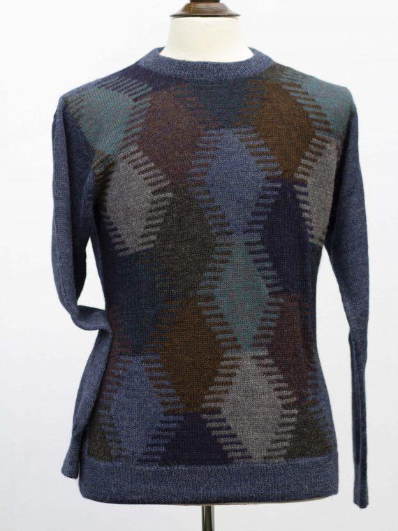 Alpaca-wollen-heren-trui-blauw-groen-ruit-motief-thermisch-warm-duurzaam-knitwear